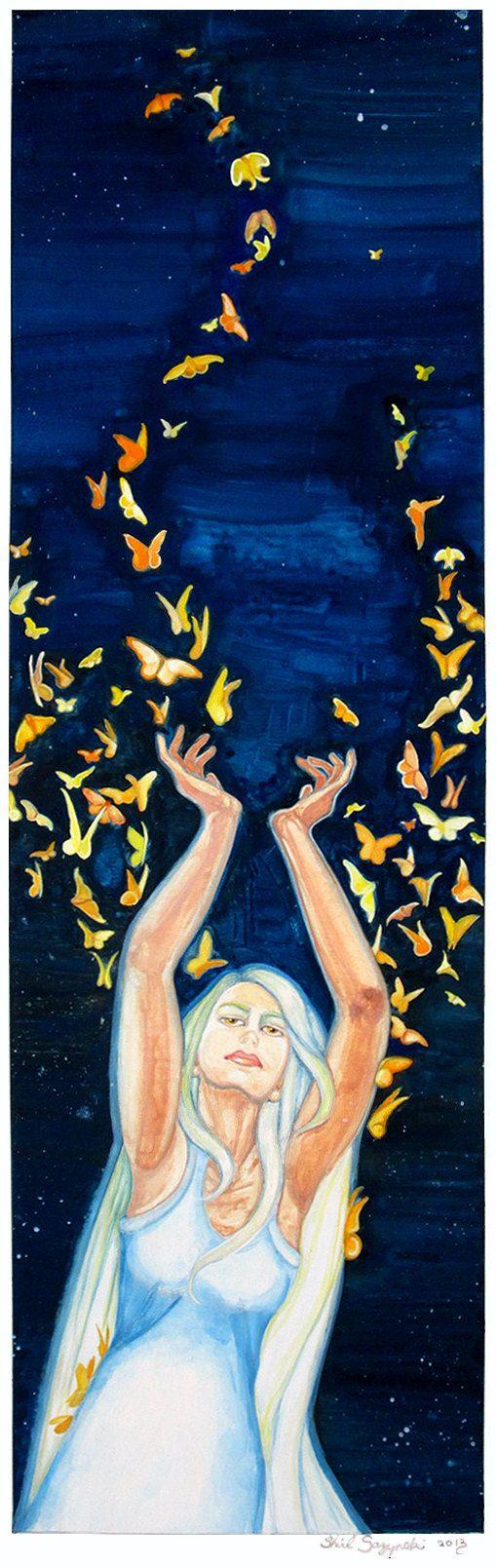 Loki's Wife Sigyn Releasing Butterflies by ArtofShirlSazynski, $15.00