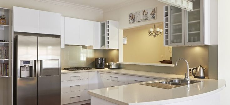 Brand new white kitchen cabinets in a Perth home.