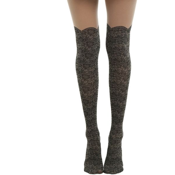 Hot Topic Blackheart Lace Faux Thigh High Tights ($8.75) ❤ liked on Polyvore featuring intimates, hosiery, tights, lace tights, thigh high tights, thigh high hosiery, lace hosiery and sheer hosiery