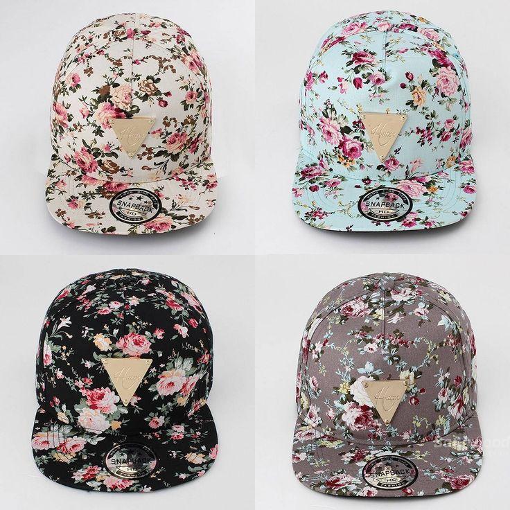 Floral Flower Hip Hop Snapback Hats Flat Adjustable Baseball Cap at Banggood