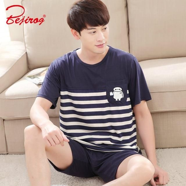 bb5a2c8c3c Bejirog men pajamas set cartoon sleepwear cotton nightwear short sleeved  male sleep clothing plus size nighties summer homewear