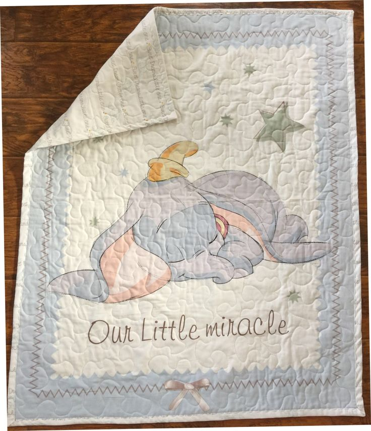 """Disney Dumbo Our Little Miracle* 36""""Wx44""""L  Stippling Quilted Dumbo nursery baby crib toddler Disney bedding by DDSewHappy on Etsy https://www.etsy.com/listing/477951084/disney-dumbo-our-little-miracle-36wx44l"""