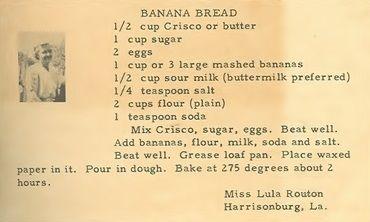 Roots from the Bayou : Family Recipe Friday ~ Banana Bread
