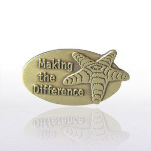 Lapel Pin - Starfish: Making the Difference by Baudville. $5.95. Each lapel pin is beautifully crafted and individually packaged in a plastic snap box. All lapel pins have a military clutch backing. Lapel pin present