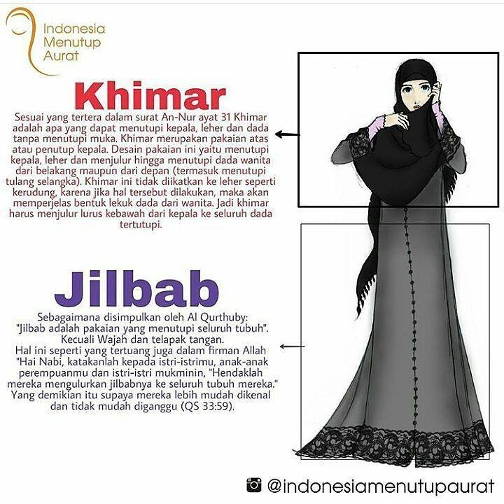 admin jelaskan dulu definisi Jilbab dan Khimar biar tidak tertukar..! Dan Tahu Ilmunya.. .  Kerudung = Khimar (Namun tidak semua kerudung itu khimar) karena khimar harus menutup dada .  Jilbab = Gamis .  Hijab = Penutup Aurat Secara Keseluruhan .  Aurat = Semua Anggota Tubuh Kecualu Wajah dan Telapak Tangan (Bagi Muslimah) .  Boleh Pakai Hijab Style dan Modis asal di rumah saja dan di Depan Mahram..! Jika Keluar Rumah Wajib Menutup Aurat Secara Sempurna..! .  #Note Tugas Muslim Itu Mendengar…