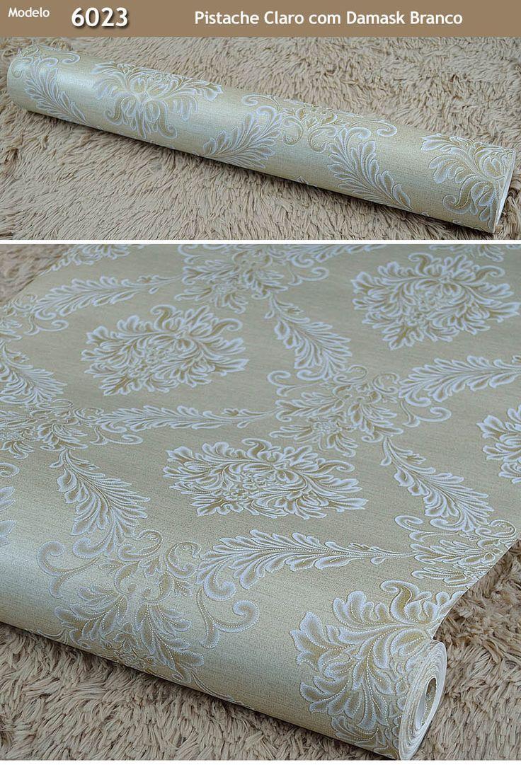 Papel De Parede Importado Alto Padrão Texturizado Damask 10m - R$ 109,90 em…