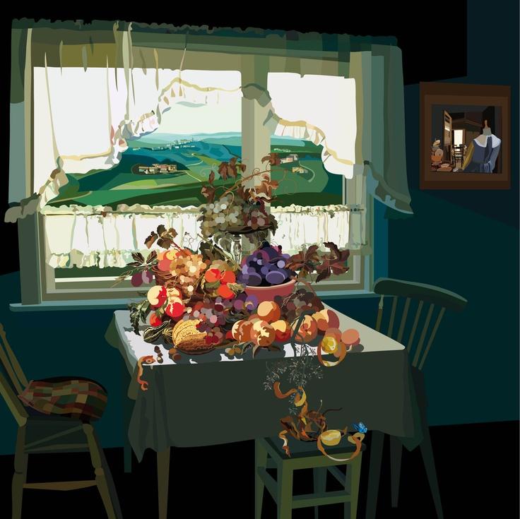 """Ovviamente la serie si ispira al """"Pranzo di Babette"""" di Karen Blixen. Meno ovviamente i paesaggi inquadrati dalle finestre sono dolci colline di Langa. Pierpaolo Rovero, L'ultimo e il primo giorno di Babette. Pittura digitale e smalto, 80x80cm, 2012."""