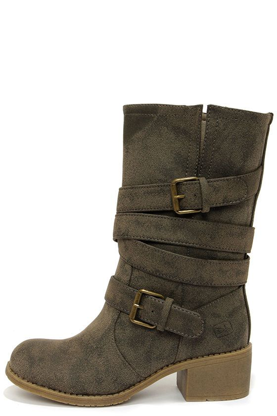 Dirty Laundry Check It Out Olive Distressed Mid-Calf Boots at Lulus.com! $69.00