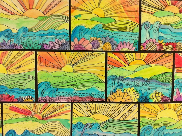 Apex Elementary Art: whimsical landscapes  Foreground, middle ground, background; warm/cool.