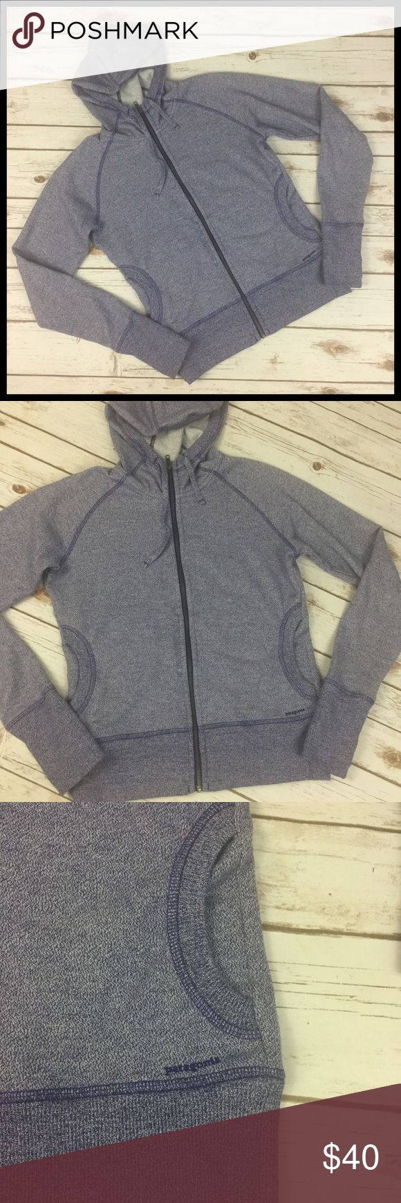Patagonia Medium Zip Front Hoodie Purple Patagonia Zip Front Hoodie / Sweatshirt Jacket - Purple Women's Size Medium  Gently used - no stains or tears 60% Polyester / 40% Cotton  Sweatshirt fabric jacket Full zip Long sleeves w/ thumbholes Attached hood w/ drawstring Hand pockets  Measurements (in inches): Chest (armpit to armpit) - 20 Sleeve (wrist to neckline) - 32.5 Length (back of neck to bottom hem) - 23.5 Patagonia Jackets & Coats