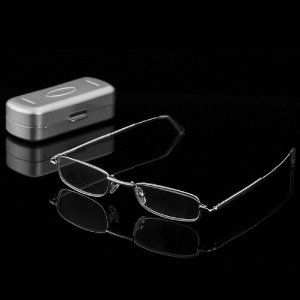 "1 Pair Unisex Design Aluminum Eyeglasses Case & Stainless Steel Full Frames Folding Reading Glasses +3.00 by Astra Depot. $11.99. Includes a slim reusable storage/travel protective case. Material: Stainless steel frames & Refractive Lenses. Diopters power: +3.00. Unique foldable Temples Design that end up being smaller, lighter and easier to manage. Size: Temple length: 5"" (12.7cm); Frame width: 5"" (12.6cm). Specifications:  • Package includes: One pair of +3...."