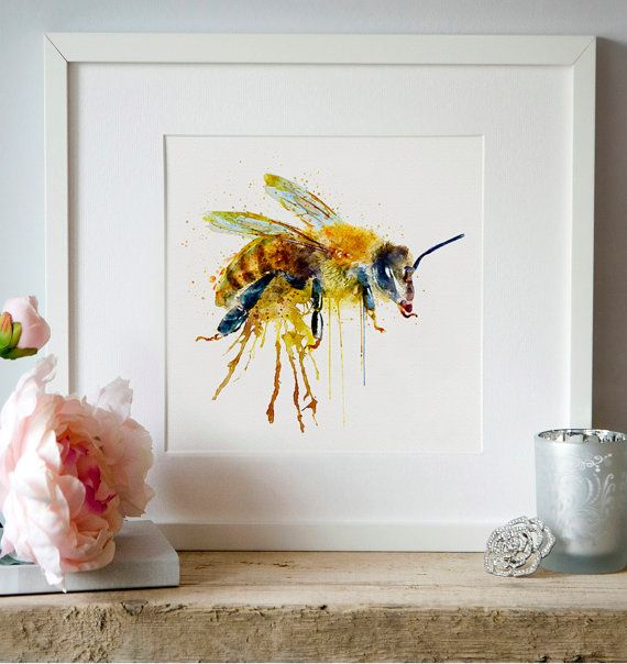 Watercolor Bee Wall art Watercolor painting Insect by Artsyndrome