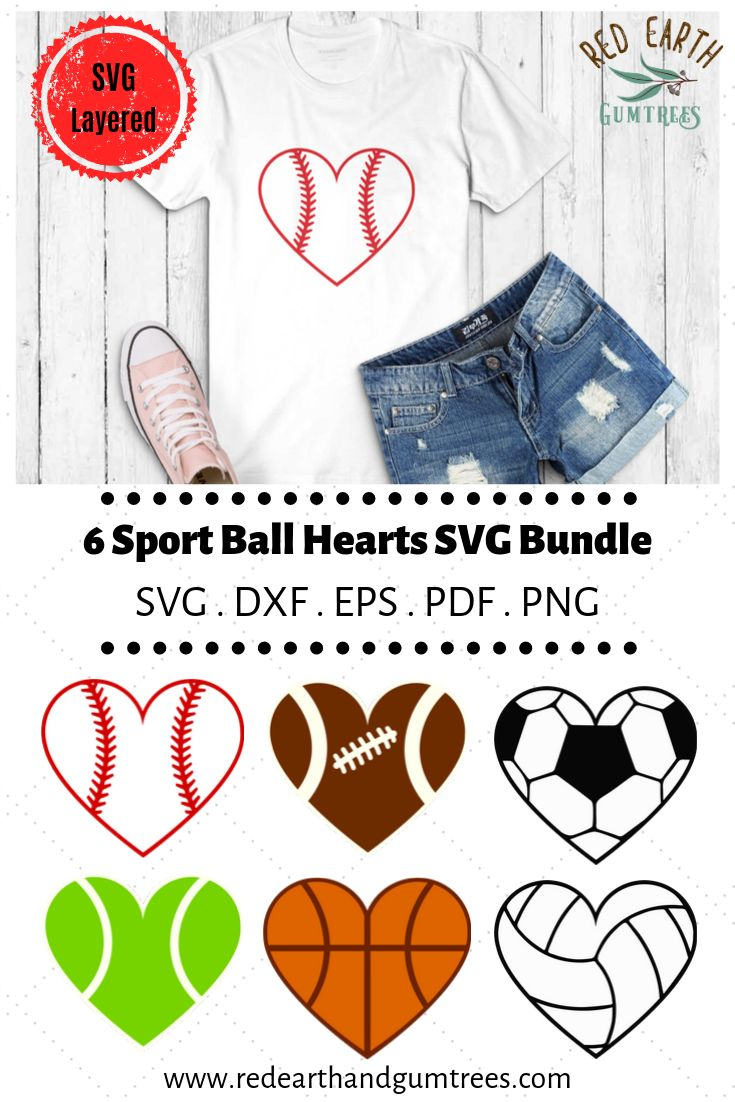 Sports themed Hearts in SVG, EPS, PDF, DXF, PNG formats