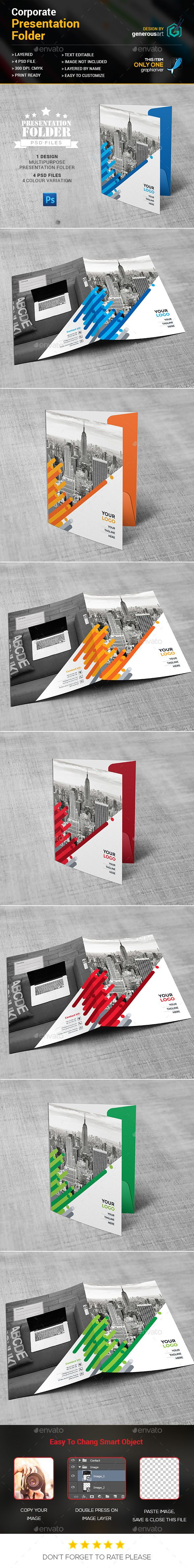 Business Presentation Folder Design Template - Stationery Print Template PSD. Download here: http://graphicriver.net/item/business-presentation-folder/16691229?ref=yinkira