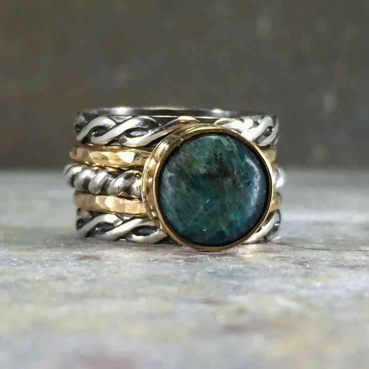 Boho gemstone ring. Blue green apatite gemstone. Gold and silver. Vintage style rope band. Handmade artisan ring. Gift for her. Gift for mom by NimbleWitchCreative on Etsy
