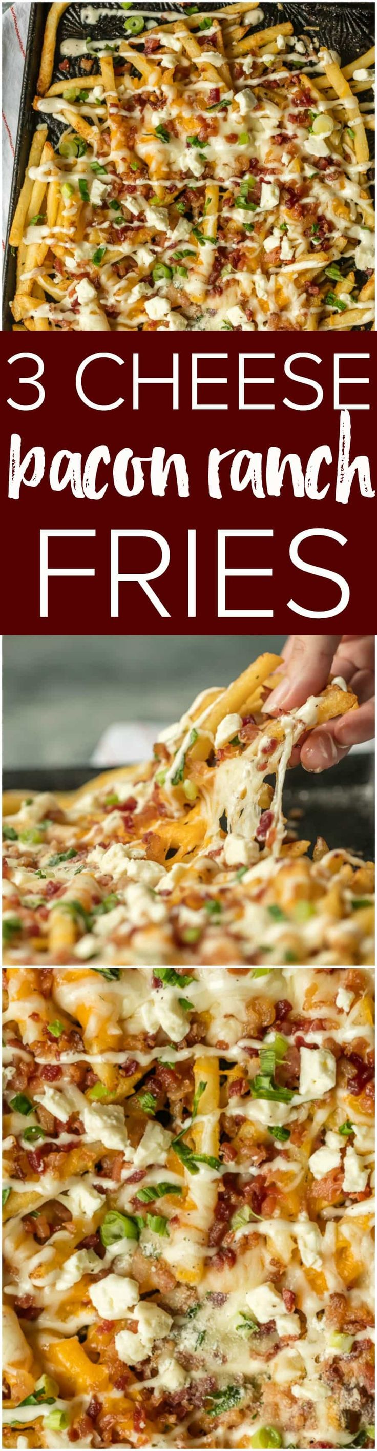 Nothing makes game day delicious more than 3 CHEESE BACON RANCH FRIES. This easy and fun appetizer takes crispy fries and tops them with ranch seasoning, bacon, cheddar, mozzarella, and feta.  3 Cheese Bacon Ranch Fries are PERFECT for game day this weekend! #ad #ranchout @HVRanch @Walmart