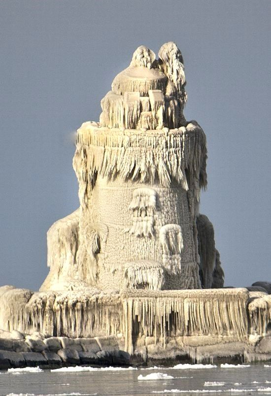After a freezing temperatures and big waves on Lake Erie crashed over a Cleveland lighthouse.