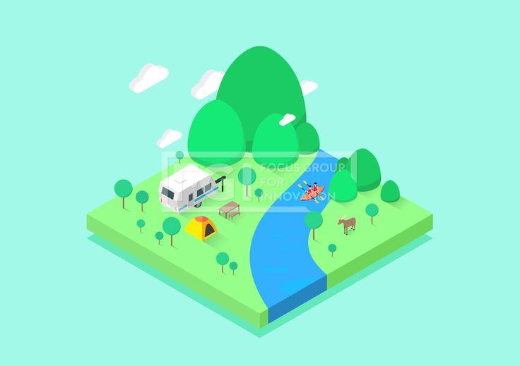 ILL196, 프리진, 일러스트, 아이소메트릭, 공간, 그림자, 고요한, 조용한, 캐릭터, 여름, 풍경, 자연, 그래픽, 입체, 오브젝트, 소스, 디자인소스, 디자인, 섬, 면, 육면체, 3D, 도형, 여행, 바캉스, 휴가, 관광, 물, 구름, 하늘, 땅, 정적인, 배경, 2인, 상반신, 카누, 배, 레저스포츠, 계곡, 강, 노, 개울가, 카라반, 캠핑, 캠프, 텐트, 나무, 식물, 숲, 산, 언덕, 동물, 포유류, 사슴, 야생동물, 책상, 의자, 식탁, 구명쪼끼, 옷, 안전, 20대, 30대, 남자, 여자, 교통,#유토이미지