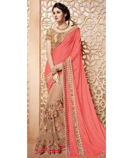 Blossom Orange And Beige Silk Designer Saree.