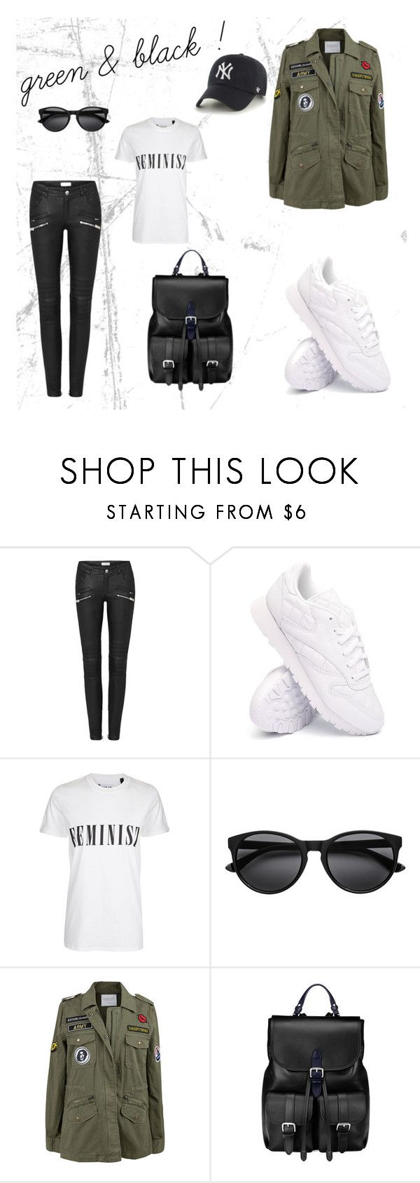 """green & black!"" by sabeeyfeel on Polyvore featuring Mode, Reebok, Tee and Cake, Velvet by Graham & Spencer, Aspinal of London und '47 Brand"