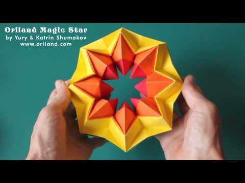 Oriland Magic Star Presentation.  There is an ebook with instructions for these Magic Stars for sale on Oriland's website.  They also have many origami diagrams available for free here:   http://oriland.com/oriversity/main.php