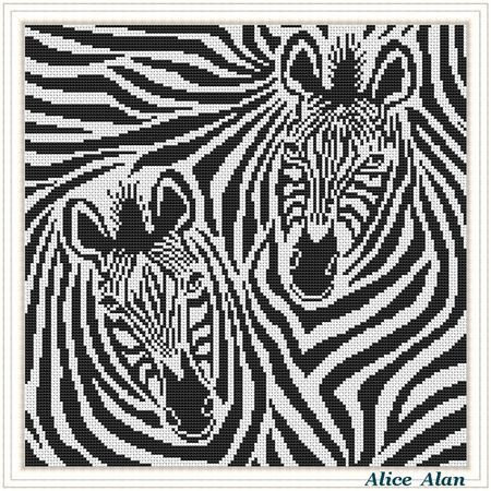 Cross Stitch Pattern Animal Zebra striped horse black white abstract Counted Cross Stitch Pattern / Instant Download Epattern PDF File