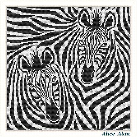 Cross Stitch Pattern Abstract Zebra's (stripes horse) black-white monochrome Counted Cross Stitch Pattern/Instant Download Epattern PDF File