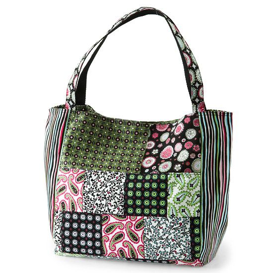 Stylish Patchwork Bag.  Sew with your favorite fabrics to make a Daisy Dazzler bag that's totally you. Vicki DeGraaf used paisleys and prints from M'Liss's Expressions line for Jo-Ann Stores to stitch up a stylish patchwork bag