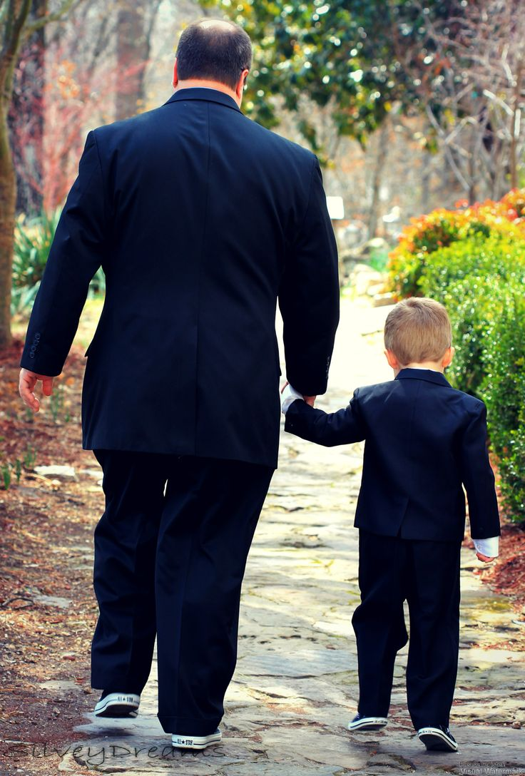 Father and Son taking a walk before the wedding starts
