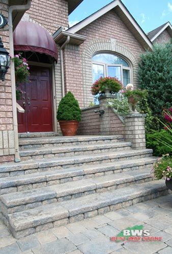 #outdoor #entrance: Best Way Stone > Paver: Strada Antico (Beige Mix) / Wall: Parkwall Antico (Beige Mix) available at our store at 3500 Mavis Rd, Mississauga, ON L5C 1T8