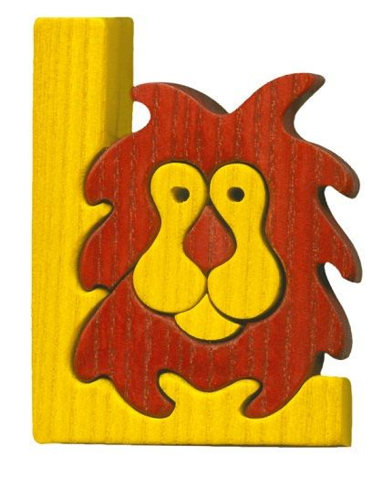 Montessori - Waldorf wooden puzzle letter L(ion), made by hand of maple wood,no harmful colors and no lacquer