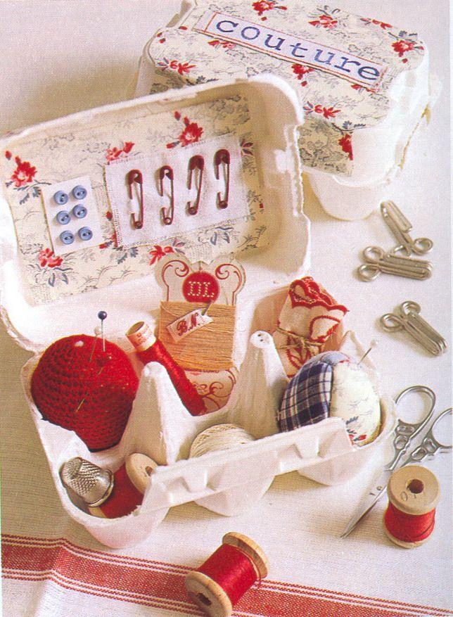 Sewing box from egg carton