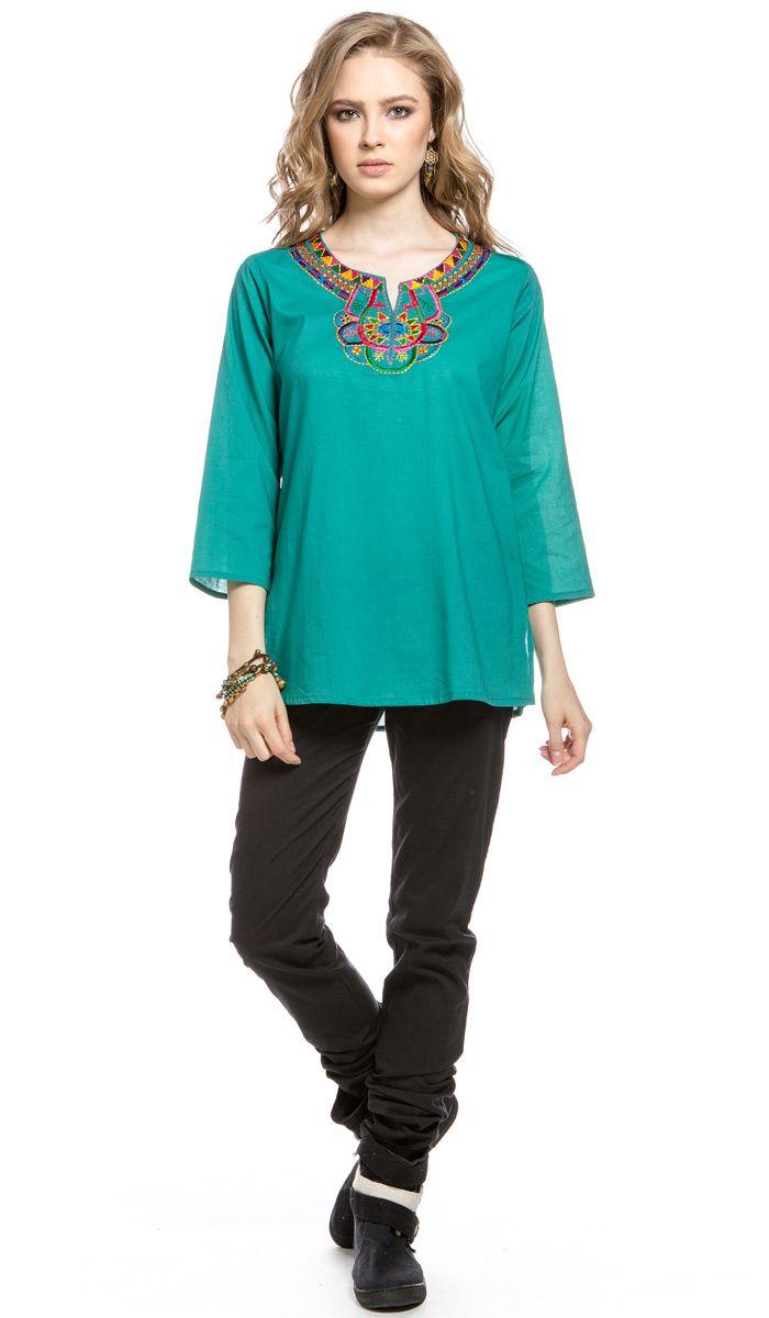 Женская этническая туника с вышивкой, зеленая кофта в этническом стиле, блуза в стиле бохо, ethnic embroidery blouse, Boho green tunic. 2340 рублей