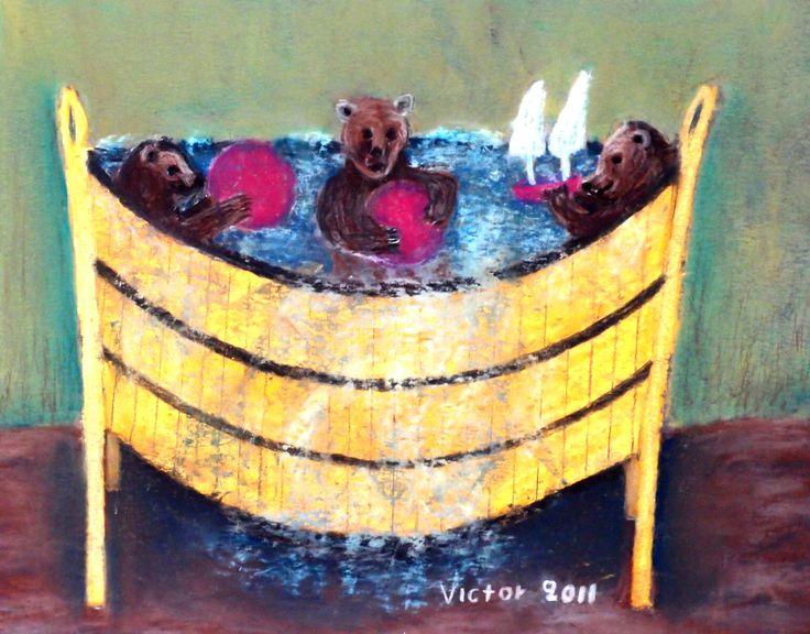 Björnungar badar, pastell på papper. Bear cubs bathe. pastel on paper.