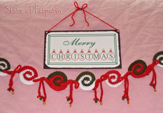 Garland inspired by candy canes, for Christmas decoration. Size Under Request!