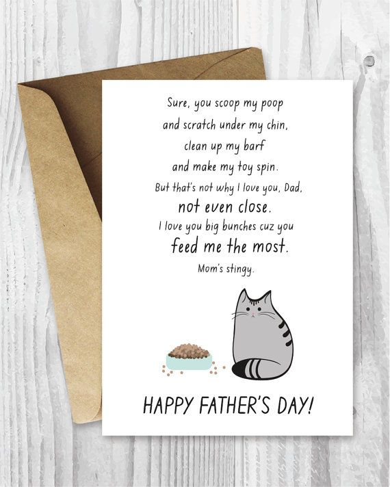 Fathers Day Cards Printable, Fathers Day Cards, Funny Father's Day Cards, Cat Dad, Cat Father's Day, Fur Baby Father Instant Download