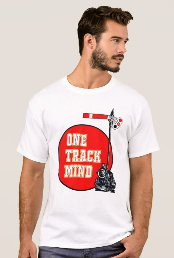 'One Track Mind' - Steam Trains T-Shirt. One for the steam buff and train enthusiast. Heavyweight t-shirt. Made from 100% cotton. Makes a great gift https://www.zazzle.com/one_track_mind_steam_trains_t_shirt-235808871478811237 #trains #TShirt #steam #vintage #giftideas