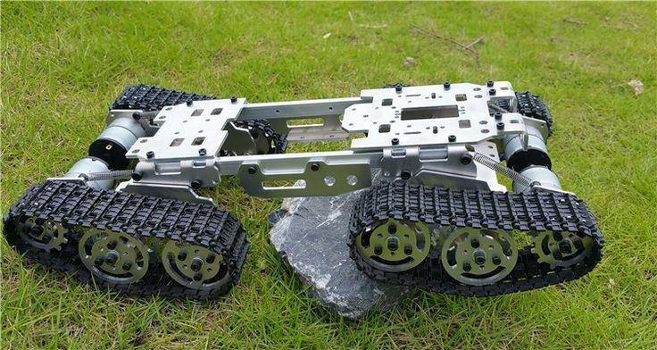 143.10$  Buy now - http://ali7tj.worldwells.pw/go.php?t=32732224966 -  WZY569 Intelligence RC Tank Car Truck Robot chassis 393mm*206mm*84mm CNC Alloy body+4 Plastic tracks + 4 Motors