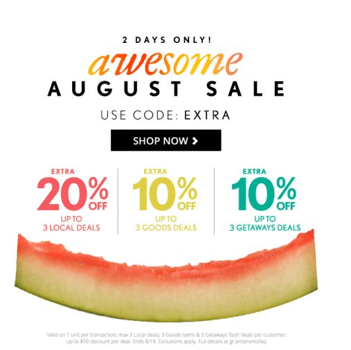 August Sale extra 20% off up to 3 local deals + more