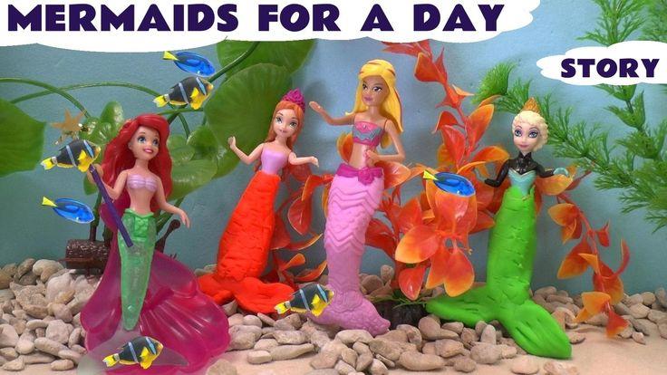 Frozen Mermaid Play Doh Barbie Princess Ariel Queen Elsa Princess Anna S...