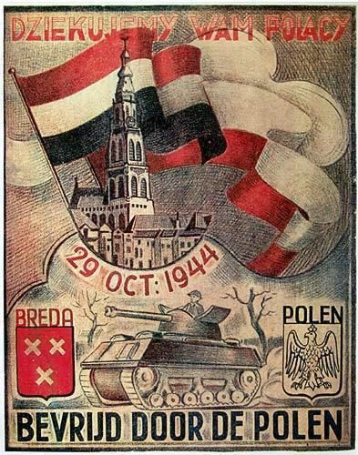Poster with thanks for the soldiers from the division gen. Maczek for the liberation of Breda.