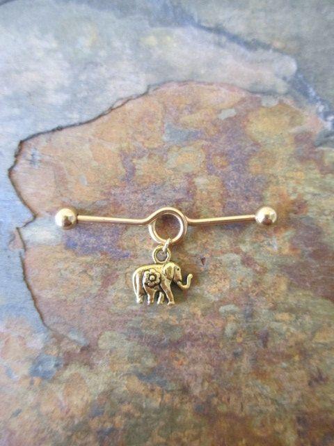 Gold Yoga Elephant Industrial Barbell by BohemianBodyJewellry, $12.00