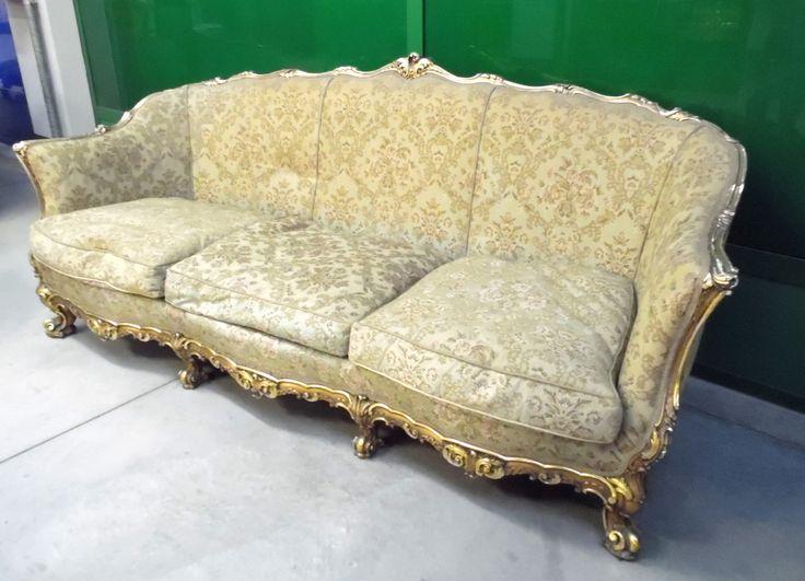 Divano in stile Luigi XV dorato d'epoca lungo 2 metri