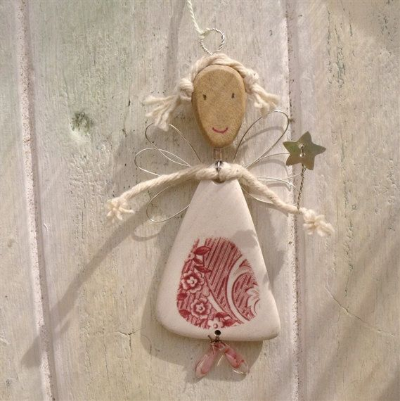 """Little Fairy Tree Ornament  Vintage China Christmas by Tumbleworn.   tumbled china, cotton string, vintage china, glass beads, wooden bead, shell button, golden wire, linen thread, tumbleworn china 3.5"""" tall"""