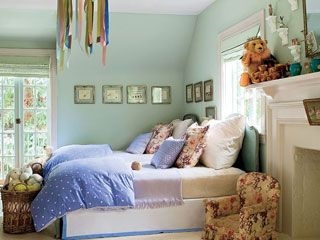 "Benjamin Moore ""Tranquility"" (490)Dreams Bedrooms, Wall Colors, Small Bedrooms, Green Wall, Kids Room, Girls Room, Girl Bedrooms, Beds Linens, Little Girls Bedrooms"
