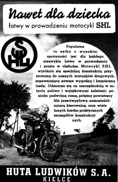 Retro REKLAMA - Motocykl SHL - 1939 rok
