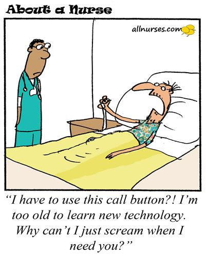 It's been said you can't teach an old dog new tricks...but, a call light? Really?! #allnurses #nursehumor