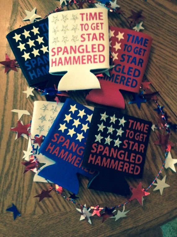 Star spangled hammered coozies / Fourth of by ManagementAwards