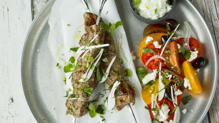 Marinerte greske lammespyd med hvitløk, sitron og fennikelfrø
