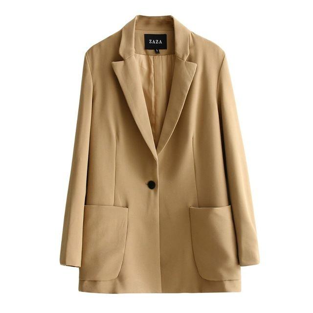 Женщин блейзеры и куртки вскользь свободная посадка пиджак женские пальто дамы блейзеры jasje Хаки голубой новый 2016 падение доставка